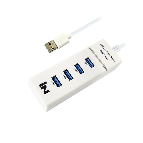 인네트워크 IN-3U4WB(USB3.0허브/4포트/무전원) [화이트]
