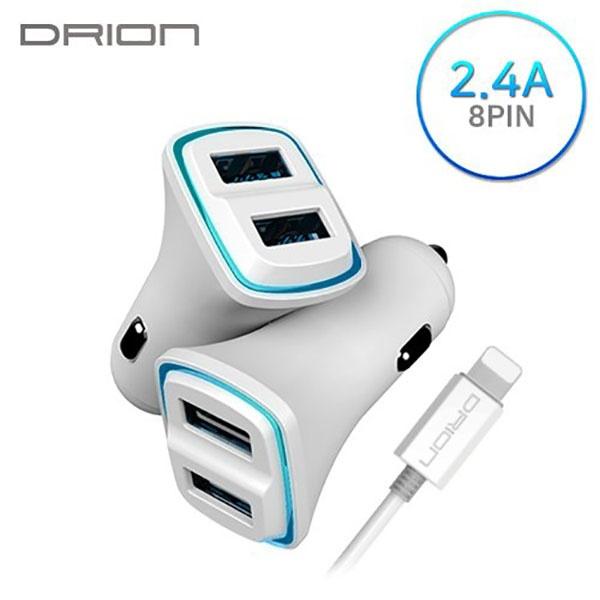 드리온 차량용충전기 USB2구 2.4A (8PIN) [DR-C1-242] 애플8핀
