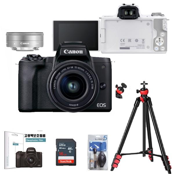 EOS M50 Mark ll(15-45 + 22 더블렌즈KIT) +128G + LCD보호필름 + 크리닝킷 + 삼각대