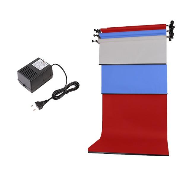 [전동배경] 벽면고정형 3롤 배경지세트 EH-03WR Basic Set(1.3m)