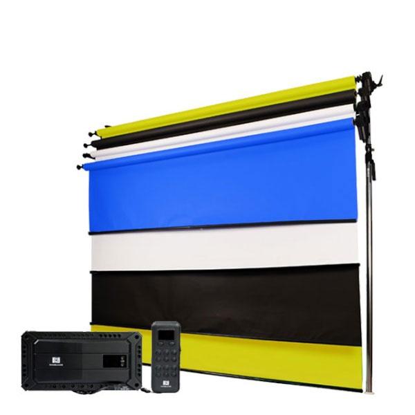 [무선전동배경] 프리미엄폴 3롤 배경지 풀세트 PE3R-27W (2.7m)