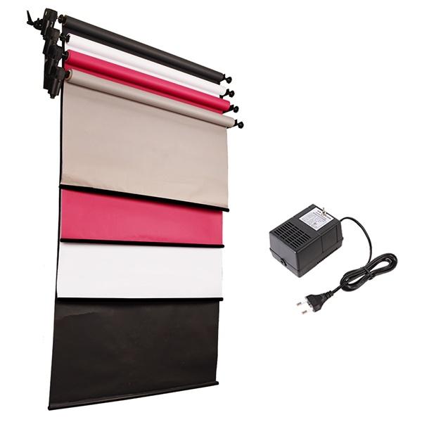 [전동배경] 벽면고정형 4롤 배경지세트 EH-04WR 베이직 세트(1.3m)