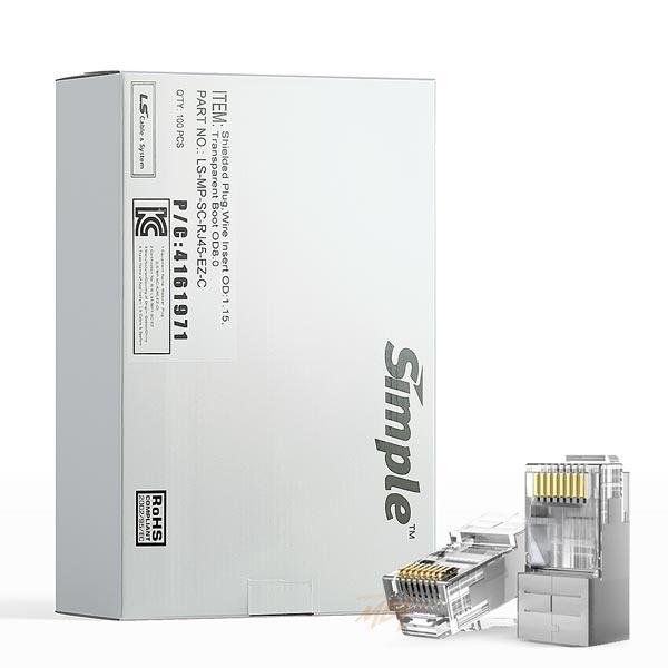 LS전선 RJ-45 관통형 커넥터, CAT.5E(6) STP, EZ 플러그 [투명/100개입] [LS-MP-SC6-RJ45-EZ-C]