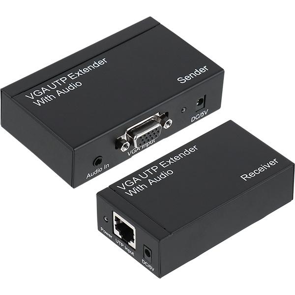 NETmate VGA 리피터 송수신기 세트, NM-PTR01 [오디오지원/최대300M/RJ-45]