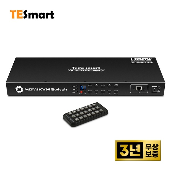 티이스마트 HKS0801A1U [HDMI KVM 스위치/8:1/USB/4K 60Hz/케이블미포함]