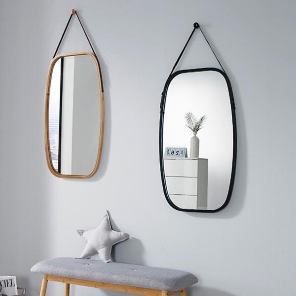 가죽 스트랩 원목 직사각 벽거울