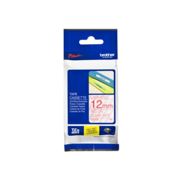 TZe-132 라벨테이프 바탕(투명)/글씨(빨강) 12mm