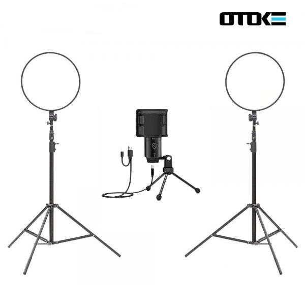오토케 개인방송장비 세트 R32 알패드45 K683A PC 마이크 LED 라이트 온라인 수업 강의 유튜브 게임방송 BJ