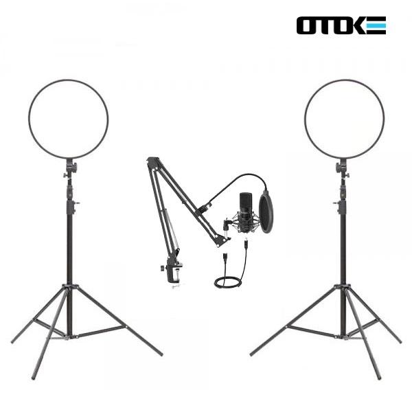 오토케 개인방송장비 세트 R31 알패드45 T730 PC 마이크 LED 라이트 온라인 수업 강의 유튜브 게임방송 BJ