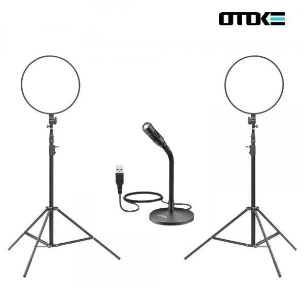 오토케 개인방송장비 세트 R33 알패드45 K050 PC 마이크 LED 라이트 온라인 수업 강의 유튜브 게임방송 BJ