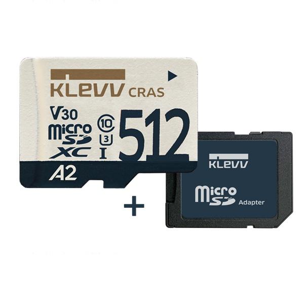 MicroSDHC/XC, Class10, KLEVV CRAS, UHS-I(U3), V30 A2 MicroSDXC 512GB [SD어댑터포함]