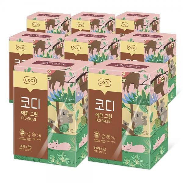 에코그린 미용티슈 180매 3입 8팩(박스)