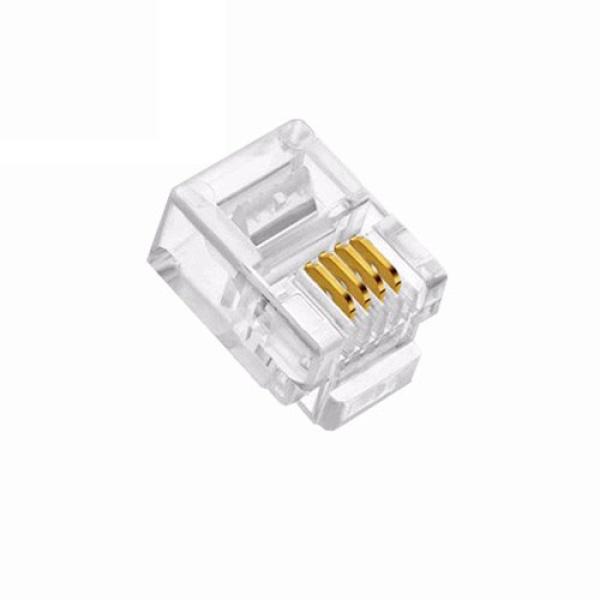 인네트워크 모듈러콘넥터, RJ11, 전화기용 6P4C [투명/100개] [IN-6P4C]