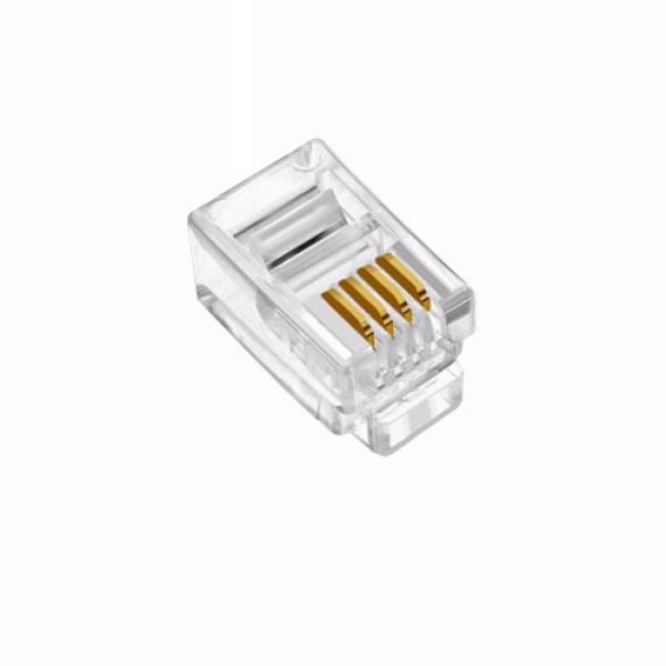 인네트워크 모듈러콘넥터, RJ11, 수화기용 4P4C [투명/100개] [IN-4P4C]