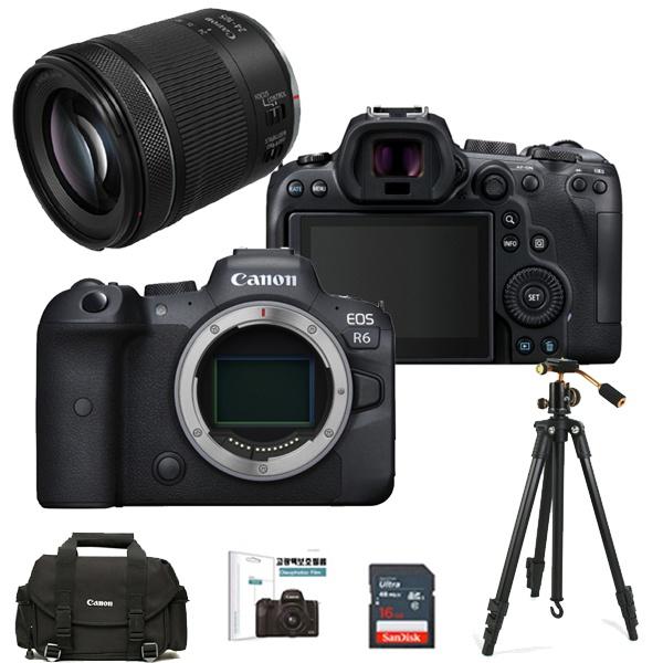 EOS R6 + RF 24-105mm F4-7.1 IS STM + 128GB + 정품가방 + 볼헤드삼각대 + LCD필름 + 크리닝킷 풀패키지