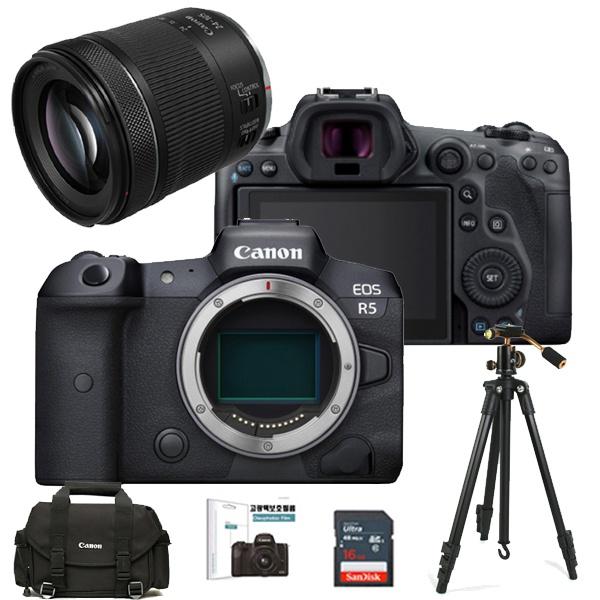 EOS R5 8K BODY + RF 24-105mm F4-7.1 IS STM + 128GB + 정품가방 + 볼헤드삼각대 + LCD필름 + 크리닝킷 풀패키지