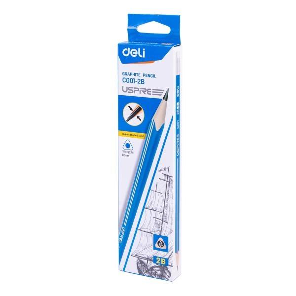 블루 삼각 지우개형 연필 (2B) EC001-2B