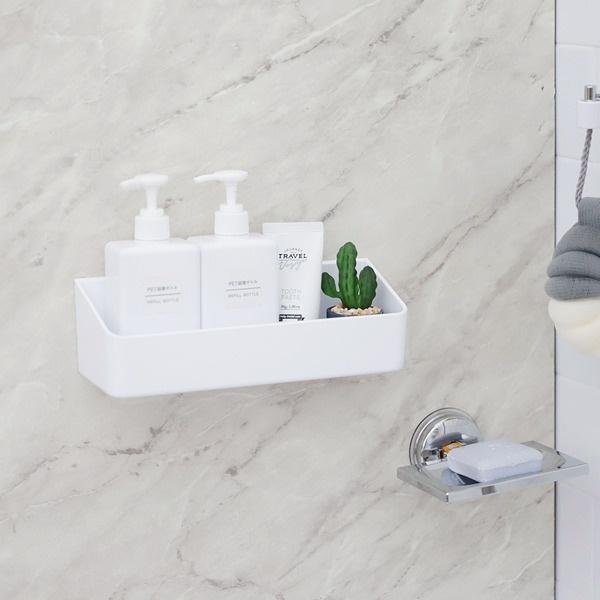 욕실 주방 수납정리 무타공 물빠짐 화이트 리빙선반