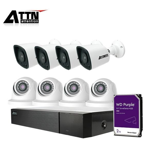 8채널 DVR CCTV 실내패키지, ATTN-DKE*1대 / 800만 화소 카메라 8대 (실내/실외 선택가능) [2TB 하드 포함]