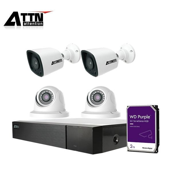 4채널 CCTV 실내패키지, ATTN-DKF*1대 / 800만 화소 카메라 4대 (실내/실외 선택가능) [2TB 하드 포함]