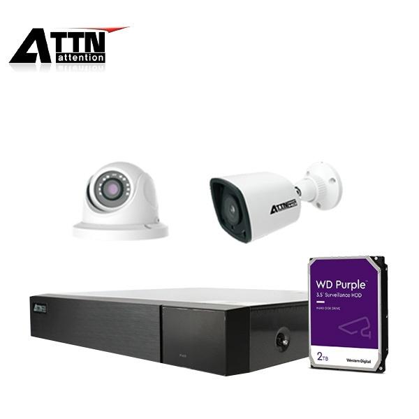 4채널 CCTV 실내패키지, ATTN-DKF*1대 / 800만 화소 카메라 2대 (실내/실외 선택가능) [2TB 하드 포함]