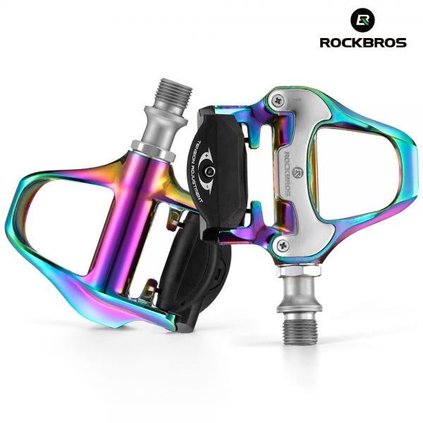 자전거페달 로드클릿페달+클릿 세트 경량알루미늄 LP-RD2CF [레인보우]