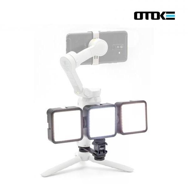 DJI 오즈모 모바일4 OM4 장착용 트리플 조명 세트 오토케 개인방송장비 스마트폰 짐벌 브라켓 라이트