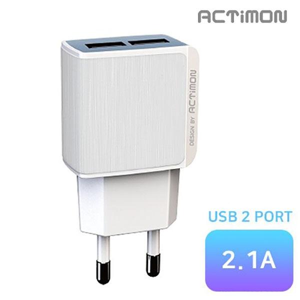 엑티몬 가정용 USB2구 충전기 2.1A [옵션 선택] [케이블 미포함 / MON-TC2-212]