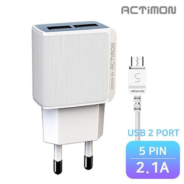엑티몬 가정용 USB2구 충전기 2.1A [옵션 선택] [5 PIN / MON-TC2-212-5P]