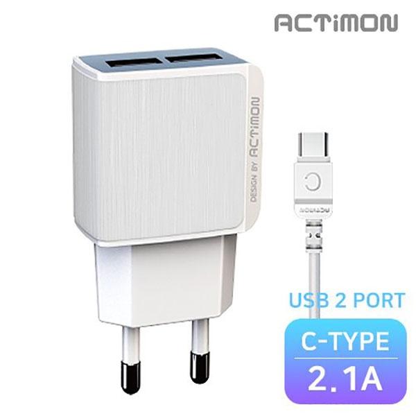 엑티몬 가정용 USB2구 충전기 2.1A [옵션 선택] [C PIN / MON-TC2-212-CP]
