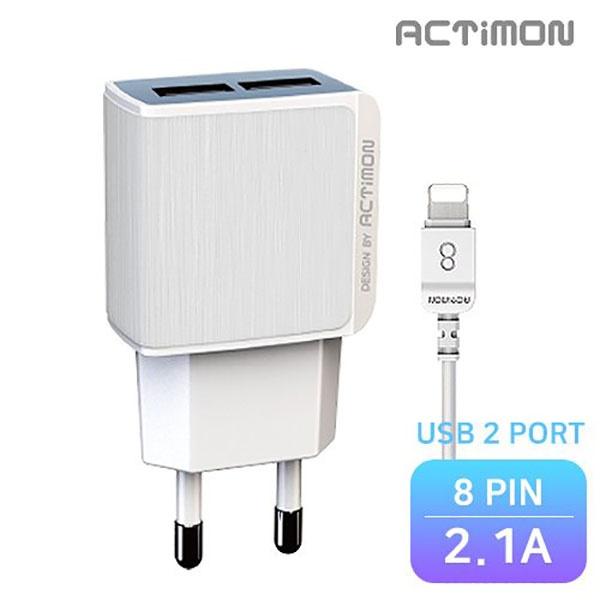 엑티몬 가정용 USB2구 충전기 2.1A [옵션 선택] [8 PIN / MON-TC2-212-8P]