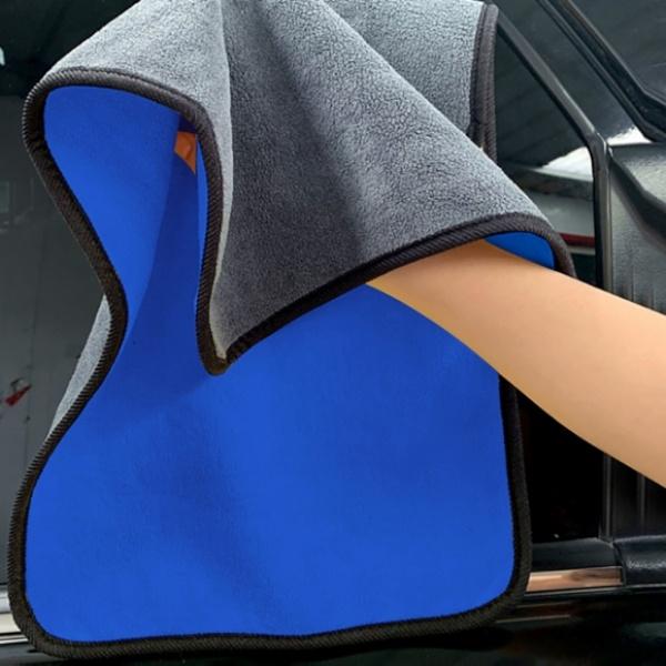 [GTS26062] 카워시 양면 극세사 세차타월 2p세트(40x60cm) (그레이+블루) (800GSM)