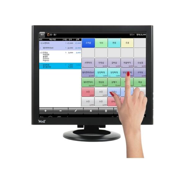 WELL 170HDMI TA 350 블랙 시리얼 내장 터치 [시리얼포트 내장형ㅣ감압식 터치ㅣ스탠드 A형ㅣ350cd]