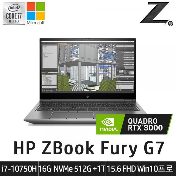 ZBook Fury 15 G7 26F74AV-R3 i7-10750H  (16GB / 512GB / 1TB  / 쿼드로 RTX3000  /Win10Pro) LTE [기본제품]