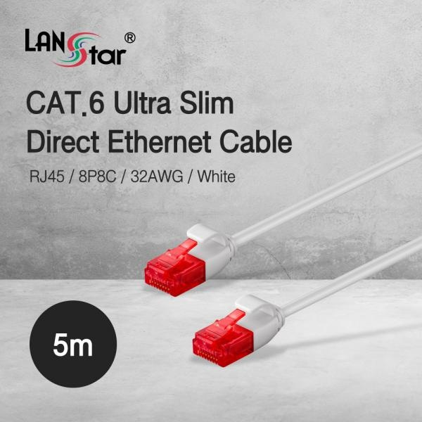 랜스타 Cat.6 UTP 초슬림 랜케이블 화이트 5M [화이트/LS-SL6-5W]