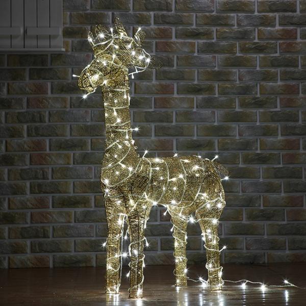 [XTS3543] 100cm LED 골드 반짝이 사슴 장식(대)63037-60262(2)