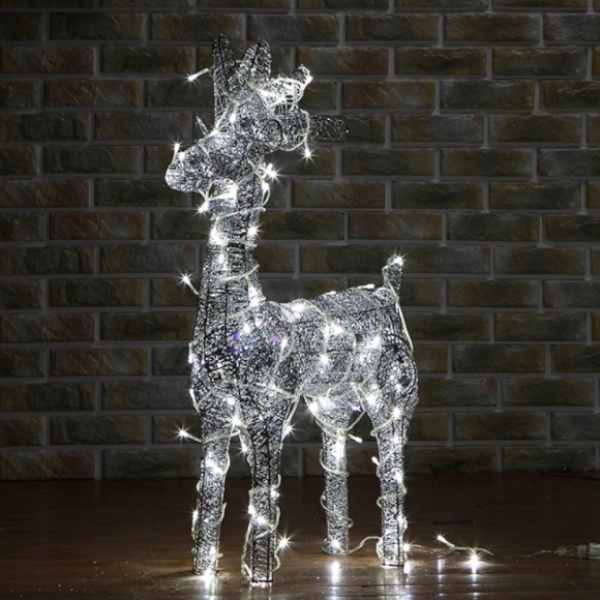 [XTS3540] 50cm LED 실버 반짝이 사슴 장식(소)65027-60262