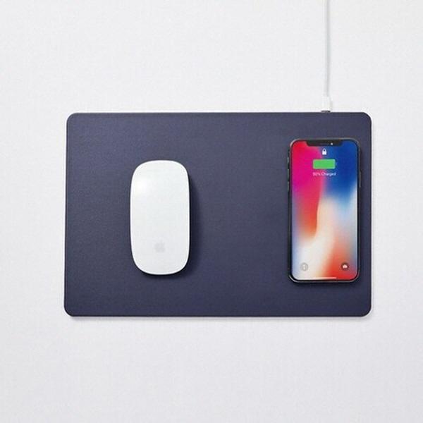 마우스패드, POUT HANDS3 Split  분리형 무선충전패드 [미드나잇블루/USB]