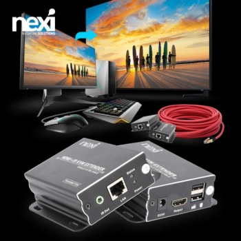 [NEXI] 넥시 HDMI KVM 리피터 송수신기 세트, NX-KVMEX60 [최대60M/RJ-45] [NX960]